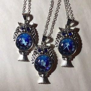 Jewelry - CHOOSE SIGN!!!  Zodiac Owl Necklace